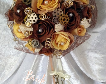 Steampunk Inspired Alternative Bridal Posy 'Lady Augustina' with FREE matching buttonhole