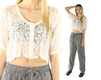Vintage 90s Lace Top Short Sleeve Shirt Button Up Blouse Sheer Ivory Cropped 1990s Medium M Large L Hippie Boho Festival