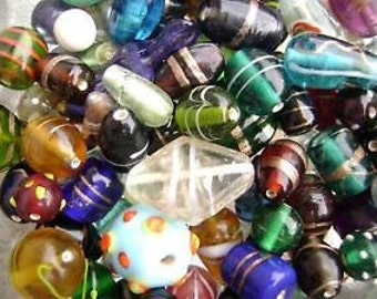 3354GL Glass Bead Mix Lampwork Vintage Style Medium - Large 6-20mm 100 gr