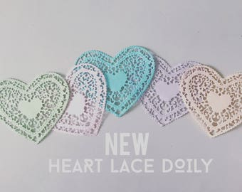 Pastel Heart lace Paper Doilies - 4 Inch - Set of 10- Valentine - Wedding Favor