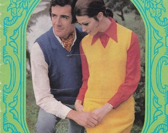 ON SALE Paton's Classic Series Knitting Pattern No 104 Sleeveless Pullovers/Vests (Vintage 1970s)