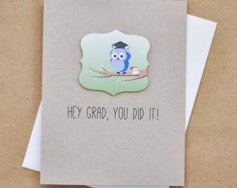 Graduation Card - You Did It Card - Owl Graduation Card - Card for Graduate - Congratulations Grad Card - Woodland Owl Grad - (SS-01)