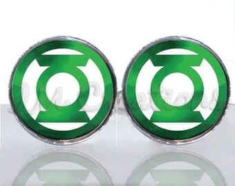 Green Lantern Symbol Round Glass Tile Cuff Links - CIR179