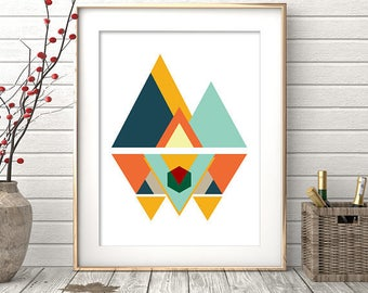 Mid Century Modern Art, Wall Art Print, Geometric Print, Digital Prints, Geometric Art, Minimalist Poster, Wall Decor, Affiche scandinave