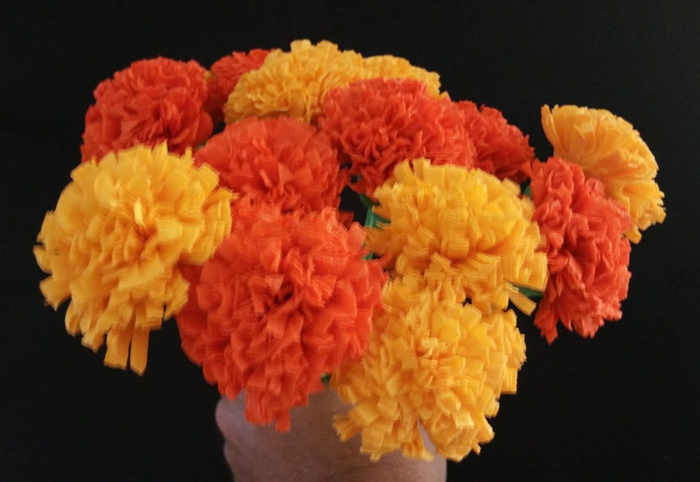 24 Marigolds Crepe Paper Flowers Day Of The Dead Dia De Los