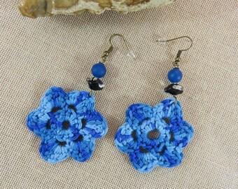 Textile earrings, crochet jewelry, textile jewelry, cotton loops, big earrings, Flower Earrings blue, women jewelry
