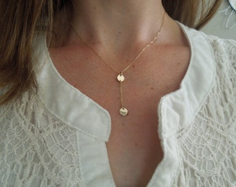 y necklace, lariat necklace, gold y necklace, gold lariat, delicate necklace, dainty gold necklace, everyday necklace cleavage disc, N43