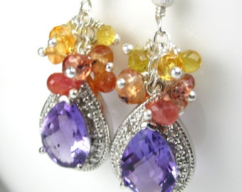 Amethyst Sunburst Earrings