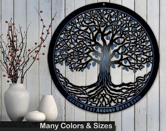 Tree of Life 34in Baltic Birch Black Metallic Base Wall Art w/ Optional Custom Text