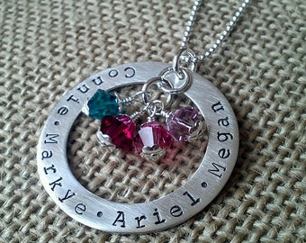 Sterling Silver Personalized Necklace for Mom and Grandma, Custom Kids Name Necklace With Birthstones, Handmade Necklace Grand Kids Names