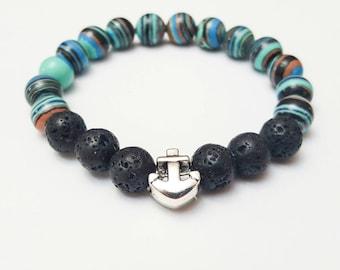 Mens Bracelet Surfer Beaded Bracelet Anchor bracelet Lava rocks Bracelet Mens Jewelry Christmas Gifts for men under 20