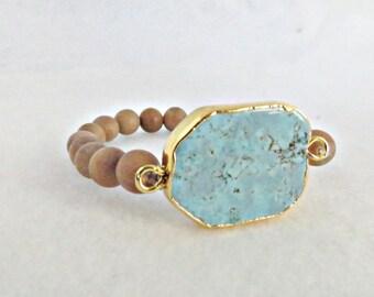 Southwest Bracelet Turquoise Bracelet Sandalwood Bracelet Sandalwood Turquoise Native American Gold Plated Western Jewelry Southwestern Gift