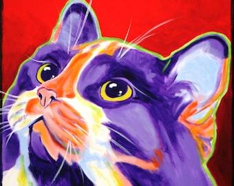 Calico Cat, Pet Portrait, DawgArt, Cat Art, Pet Portrait Artist, Colorful Pet Portrait, Calico Cat Art, Pet Portrait Painting, Art Prints