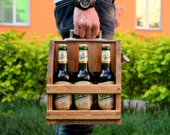 Wooden six pack beer carrier, Wooden Beer Carrier, Wooden Beer Caddy, Birthday gift, Beer holder, Personalized Birthday Gift, Man cave, beer