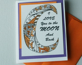 Love you to the Moon Quote with Moon Zentangle inspired design