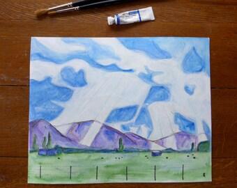 Cloud landscape painting, original watercolour art to frame, small watercolor, sky art, sunbeams, dairy farm, cow art, unframed art