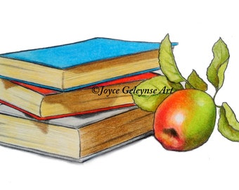 Clip Art, Stack of BOOKS and APPLE, Freehand Drawing, Commercial Use, Colorful Clipart, Instant Download