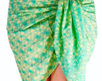 Sarong Pareo Wrap Skirt Beach Sarong Womens Beachwear Short Bikini CoverUp Chiffon Sarong Skirt Hip Wrap - Aqua & Cream Batik Chiffon Scarf