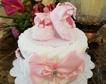 One Tier Pink And White Diaper Cake / Baby Shower Centerpiece / Elegant Diaper Cakes /  Baby Shower Gift