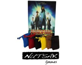 Pandemic - ( 6 ) Color matched Durable Felt bags for player tokens and game pieces