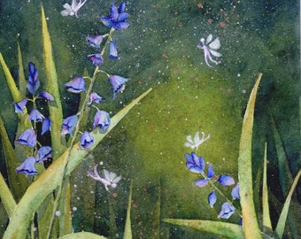 Fairy Garden Original 8x10 fairy boho whimsical watercolor painting by M. Pruitt EBSQ SFA