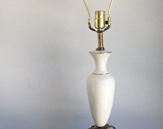 Vintage Brass and Ceramic Lamp with Ormolu Flower Detail, Cream and Gold