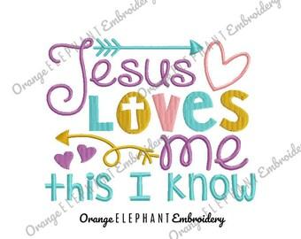 Jesus Loves Me Unique Urban Machine Embroidery Design digital File
