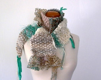 mineral mix. knit scarf . wearable fiber art scarf . handknit art yarn scarf . knit fashion accessories . emerald cream beige gray silver