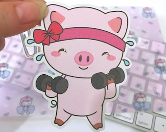 PW006| piggy stickers, piggy planner stickers, workout stickers, fitness stickers, dumbbell stickers, mood stickers,k awaii stickers, cute