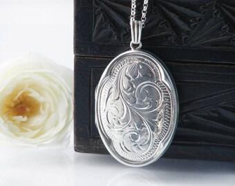 Vintage Sterling Silver Locket Necklace | Engraved Large Oval Locket | 1977 English Hallmarks | Quatrefoil - 24 Inch Sterling Chain Included