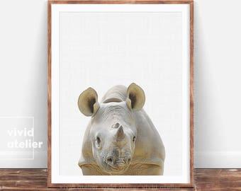 Rhino Print, Safari Nursery Wall Art Decor, Kids Safari Poster, Boys Room Decor, Modern African Animal Print, Kids Wall Art Poster Printable