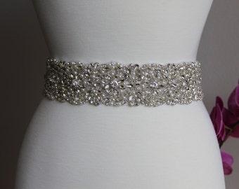 Elegant and gorgeous rhinestone trim/applique, beaded detailed bridal sash, wedding sash, rhinestone belt, bridal belt, rhinestone applique