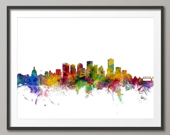 Edmonton Skyline, Edmonton Canada Cityscape Art Print (1282)