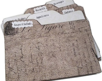Recipe Tab Dividers MADE TO ORDER , Burlap-Lace, 4 x 6 4 by 6 (Set of 6) Kitchen Organization
