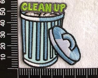 Clean Up Trash Can Patch Environmental Protection Applique CD71