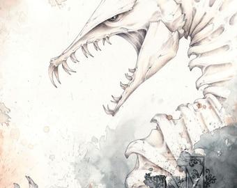 Fantasy Skeleton Dragon Art Print
