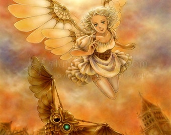 Free US Shipping - Steampunk Owl & Girl with Mechanical Wings Fantasy Art - Steampunk Test Flight - 8x10 Signed Print - by Mitzi Sato-Wiuff