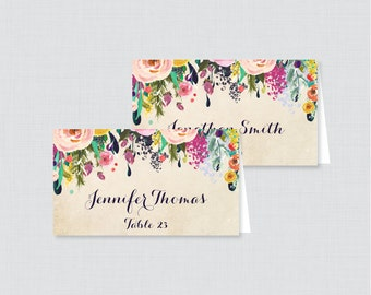 Printed Wedding Place Cards - Floral Wedding Table Place Cards, Colorful Flower Printable Place Cards for Wedding 0003-A