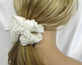White Silky Hair Scrunchie - #40