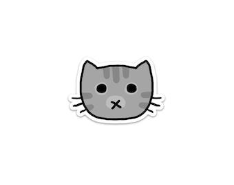 Gray Tabby Cat Sticker, Phone Sticker, Cat Laptop Sticker, Car Sticker, Bumper Sticker, Vinyl Sticker, Cute Cat, Grey Cat, stripes