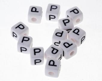 "10 Pearl White acrylic 10mm Bracelet, jewelry Alphabet letter ""P"", pacifier clip"