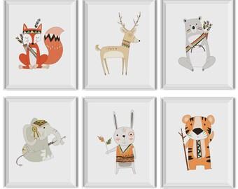 Tribal Nursery Decor Boy, Woodland Nursery Decor Boy, Tribal Nursery Art Boy, Woodland Nursery Art Boy, Woodland Animals, Fox, Bear, Deer