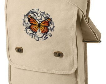 Baroque Butterfly - Monarch Embroidered Canvas Field Bag