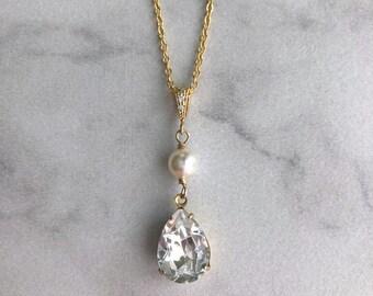 Gold bridal necklace - dainty bridal necklace - gold bridesmaids necklace - simple wedding necklace - bridesmaids pendant - Charlotte