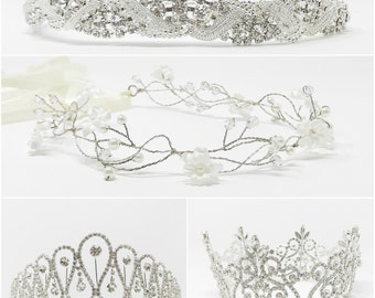 Tiara - Birthday Tiara - Bachelorette Tiara - Flower Girl Tiara - Crown