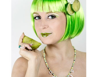 Lime Blosson Fascinator, Lime Slices Hair Clip, Fruit Hair Clip, Fruit Fascinator