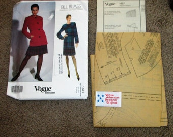 Vtg. 1992 Vogue American Designer Bill Blass pattern # 1027 size 12 14 16 UNCUT
