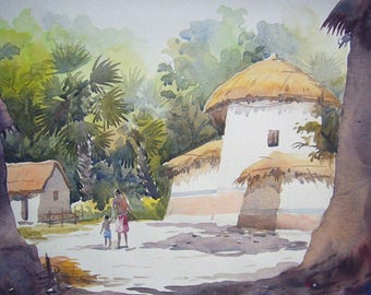 Rural Village - Original Watercolor Painting on paper