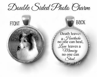 Personalized Pet Memorial Jewelry - Loss of Pet Double Sided Custom Photo Charm - In Memory Pet Quote Necklace Pendant