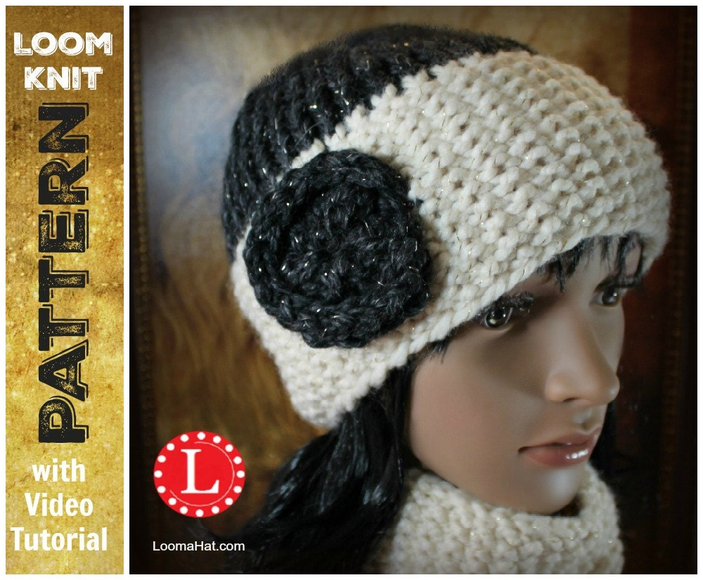 Loom Knitting PATTERNS Seed Stitch Brim Hat and Cowl / Scarf